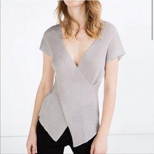 ZARA | Crossover Knit Top